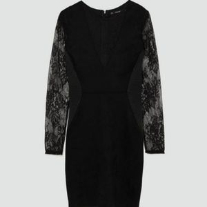 NWT Zara Black Contrasting Faux Suede Dress Size M